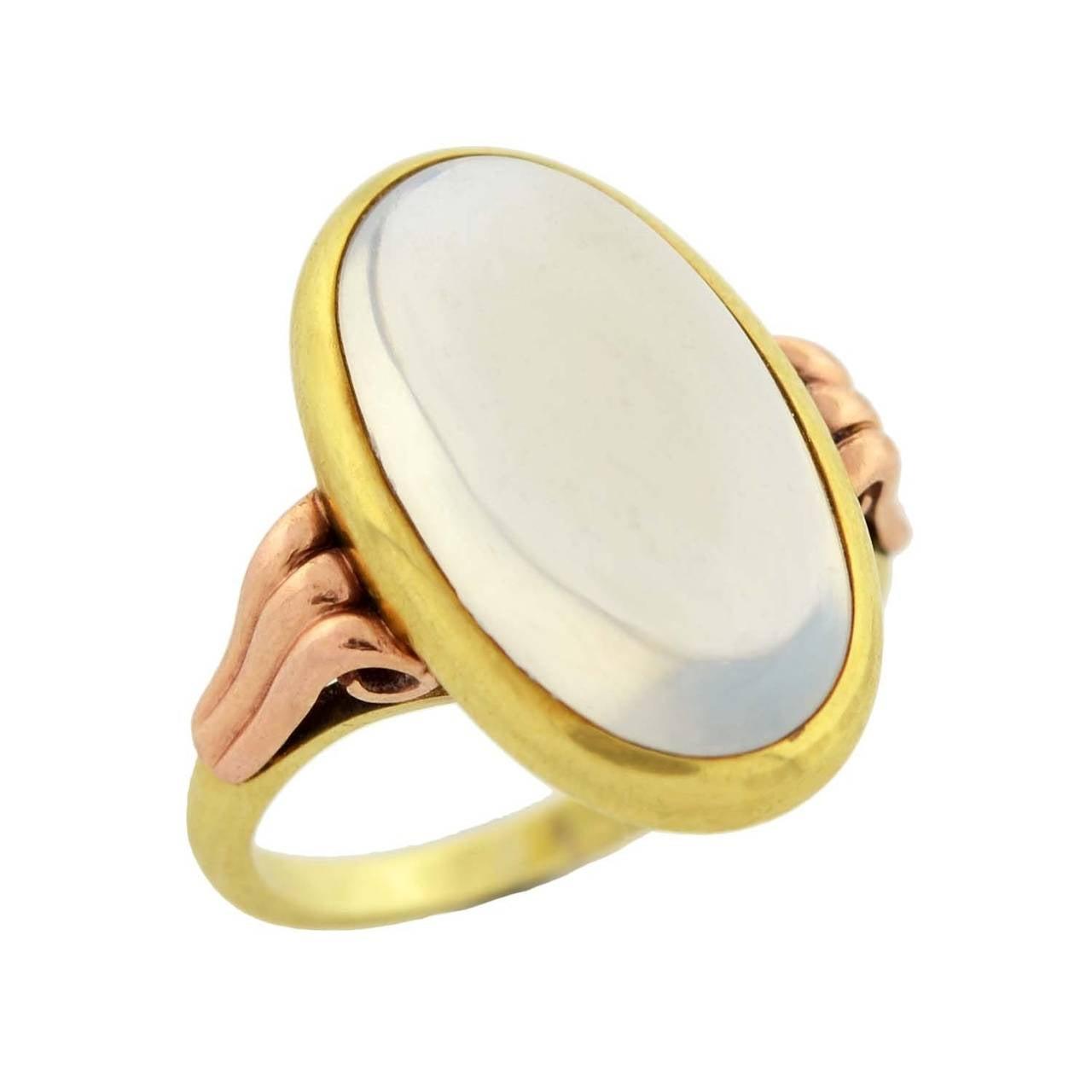 Art Nouveau Mixed Metals Moonstone Cabochon Ring 2