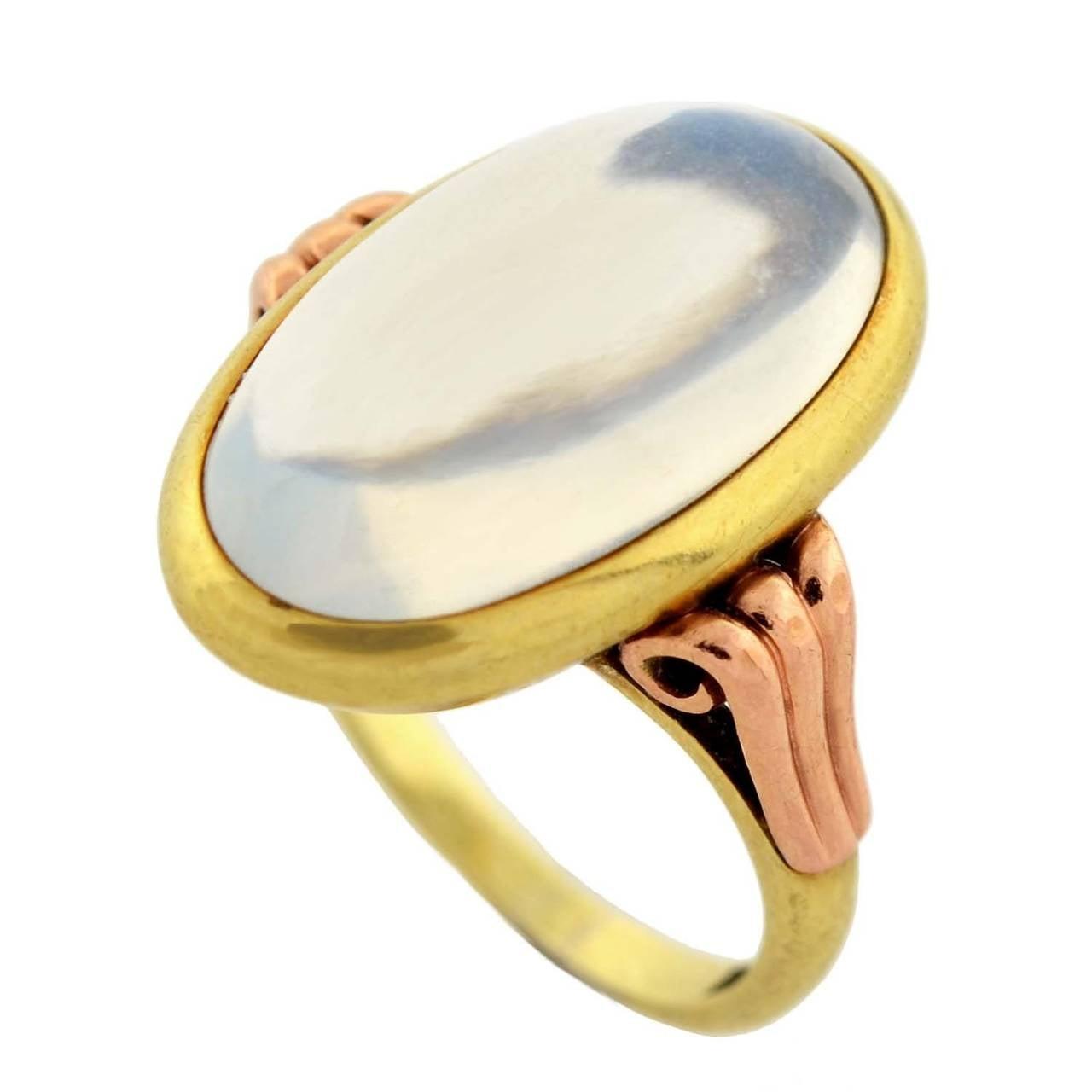 Art Nouveau Mixed Metals Moonstone Cabochon Ring 1