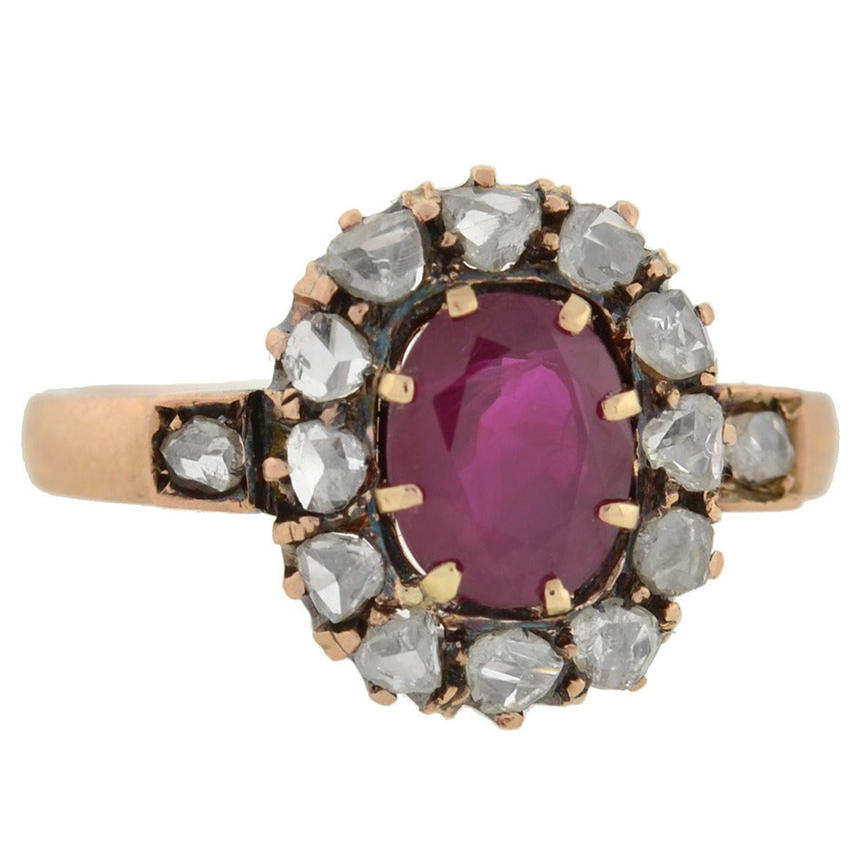 Victorian Burmese Ruby Rose Cut Diamond Gold Cluster Ring