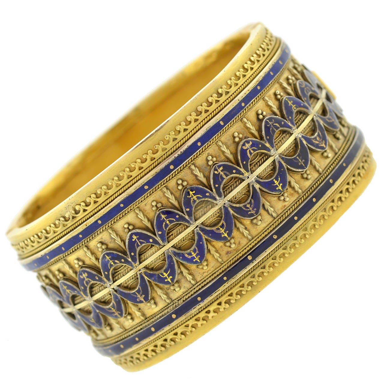Victorian Blue Enamel Etruscan Gold Bangle Bracelet