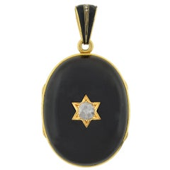 Victorian Banded Agate and Diamond Starburst Locket Pendant