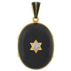 Victorian Banded Agate Diamond Locket