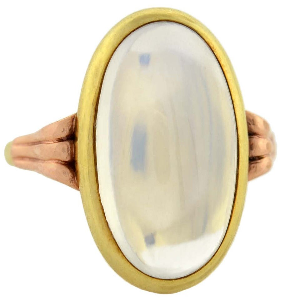 Art Nouveau Mixed Metals Moonstone Cabochon Ring