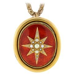 Art Nouveau Guilloche Enamel Pearl Diamond Gold Locket Necklace
