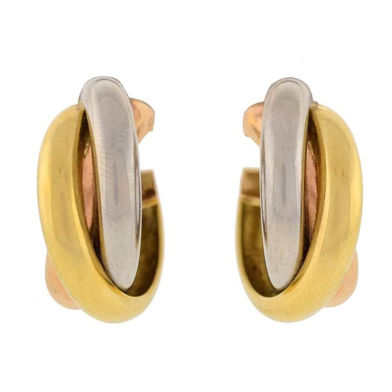 Cartier Contemporary 3 Tone Trinity Hoop Clip Earrings For