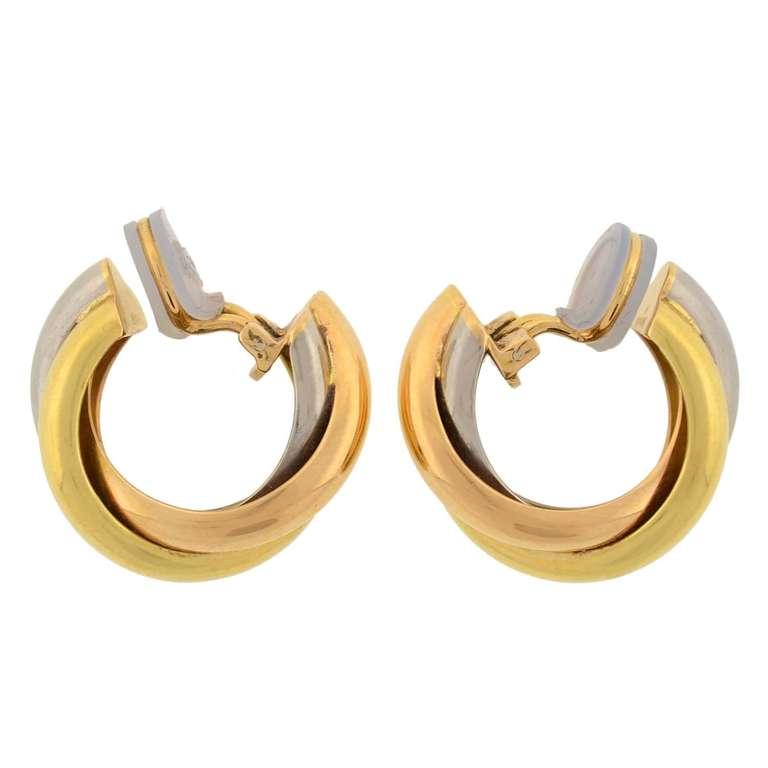Women's CARTIER Contemporary 3-Tone Trinity Hoop Clip Earrings For Sale
