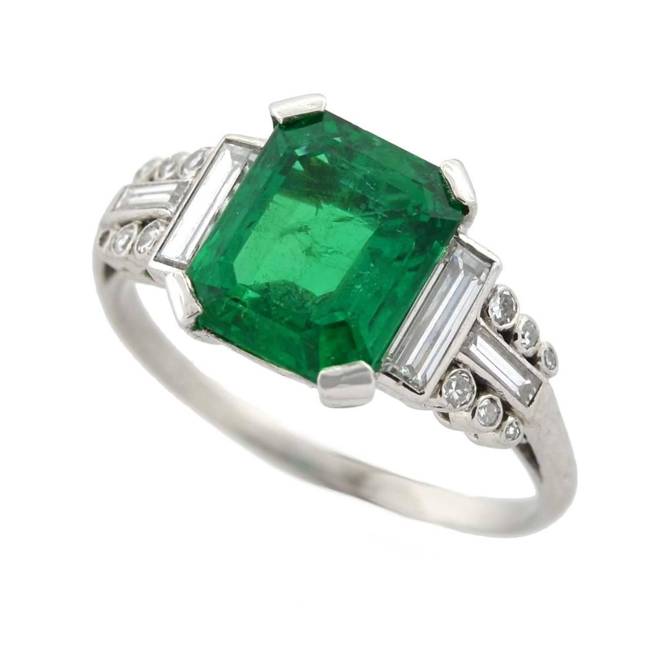 deco 2 82 carat emerald platinum ring at 1stdibs