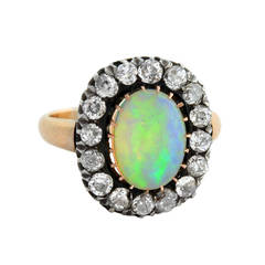 Victorian Opal Diamond Silver Gold Cluster Ring