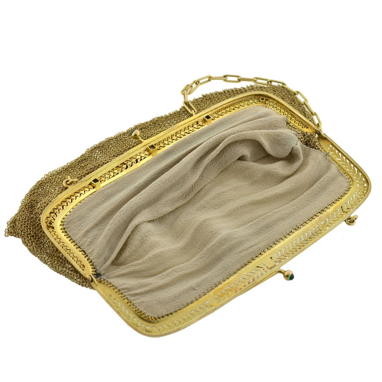 Edwardian Emerald Diamond Gold Mesh Purse In Excellent Condition For Sale In Narberth, PA