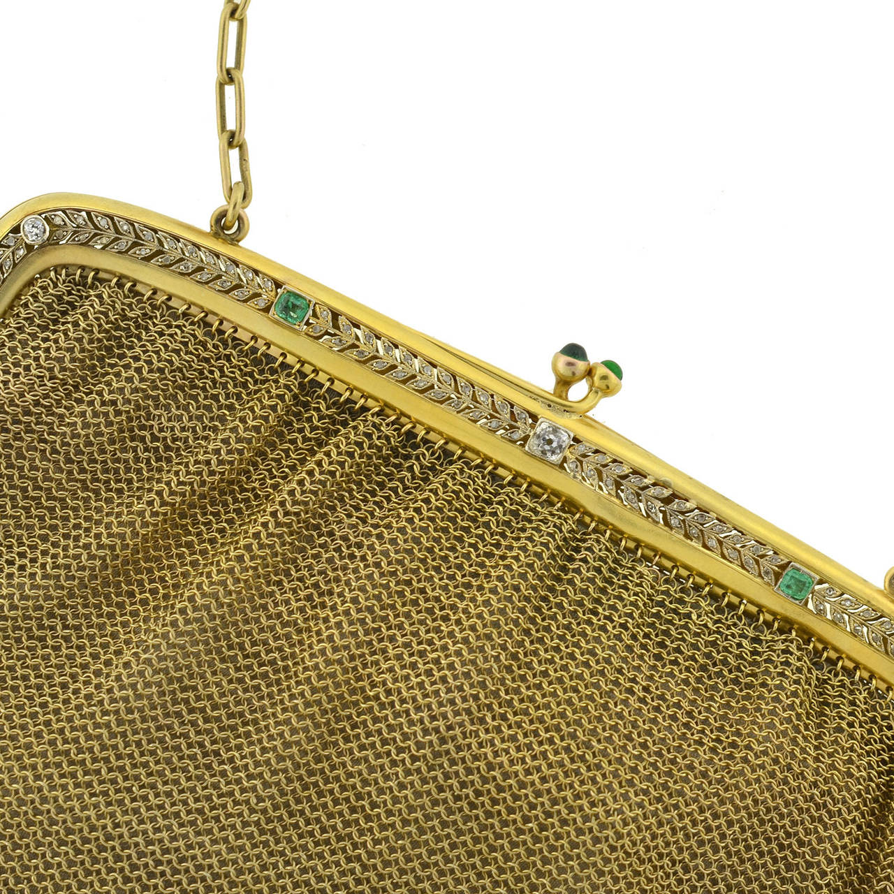 Women's Edwardian Emerald Diamond Gold Mesh Purse For Sale