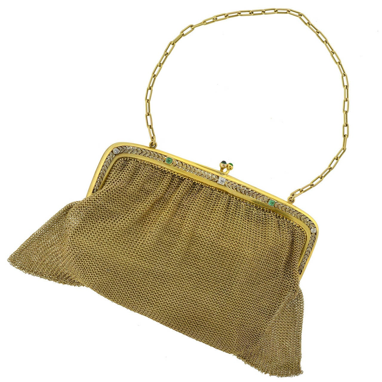 Edwardian Emerald Diamond Gold Mesh Purse For Sale