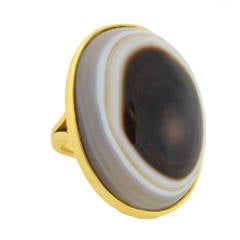 Contemporary Banded Agate Gold Ring