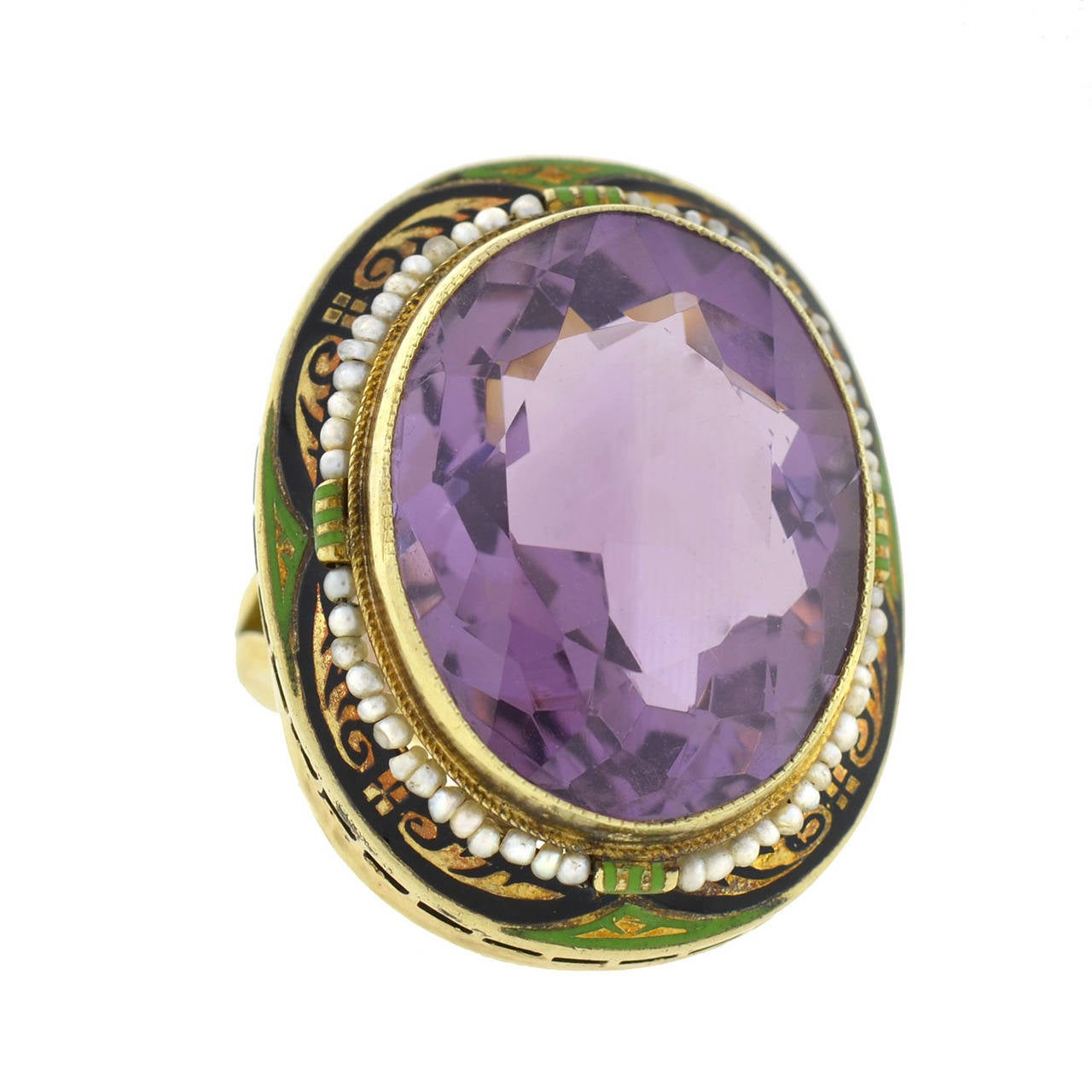 Art Deco Enameled Seed Pearl Amethyst Gold Cocktail Ring