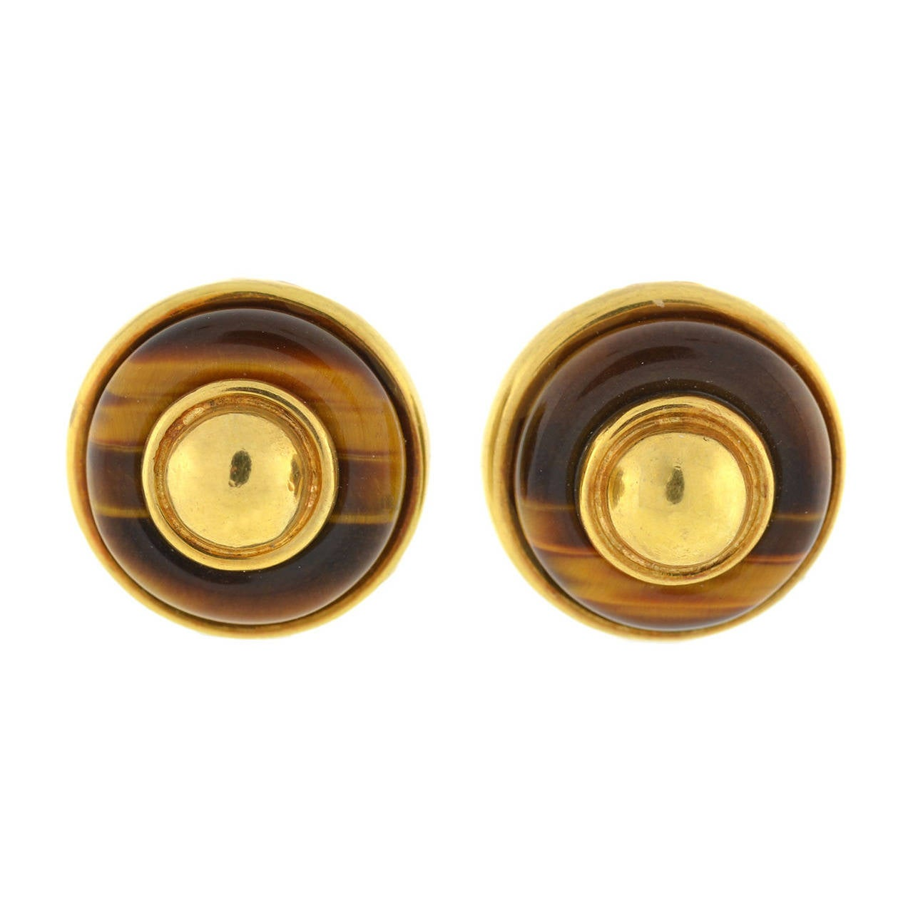 Tiffany & Co. Tiger's Eye Gold Clip On Earrings