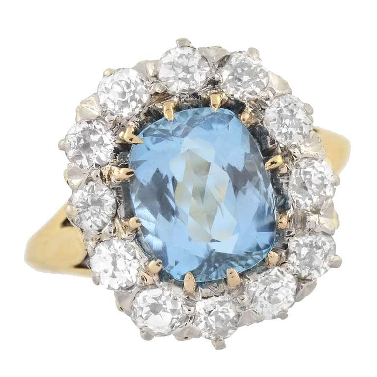 Edwardian Aquamarine and Mine Cut Diamond Cluster Ring at ...
