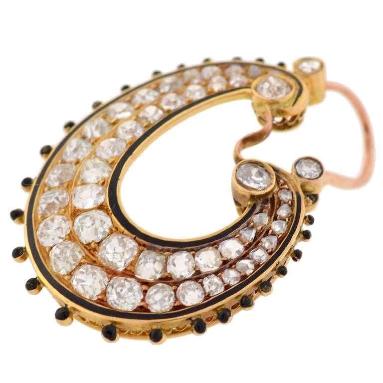 Victorian Diamond & Enamel Hoop Earrings For Sale 2