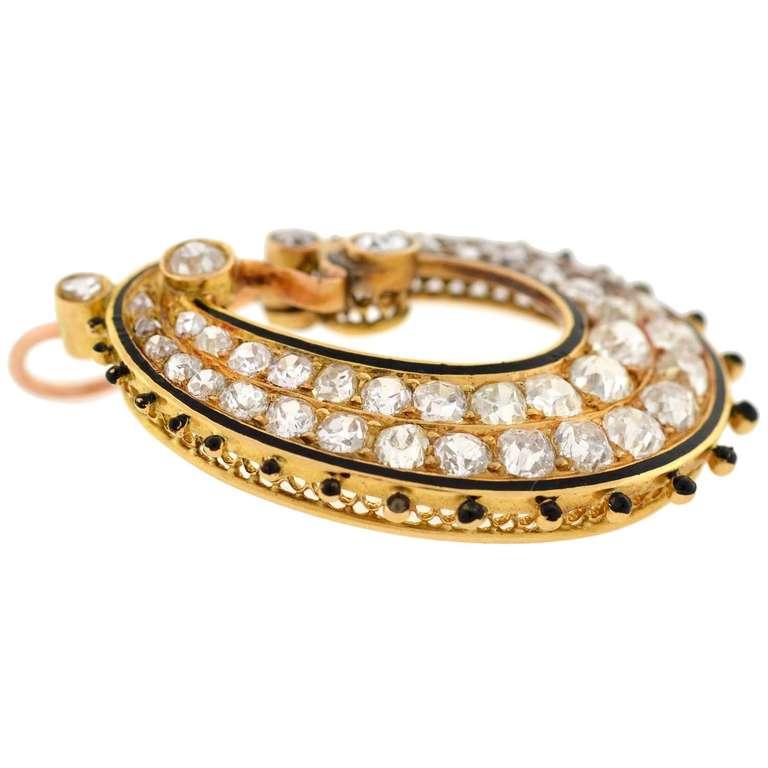 Women's Victorian Diamond & Enamel Hoop Earrings For Sale