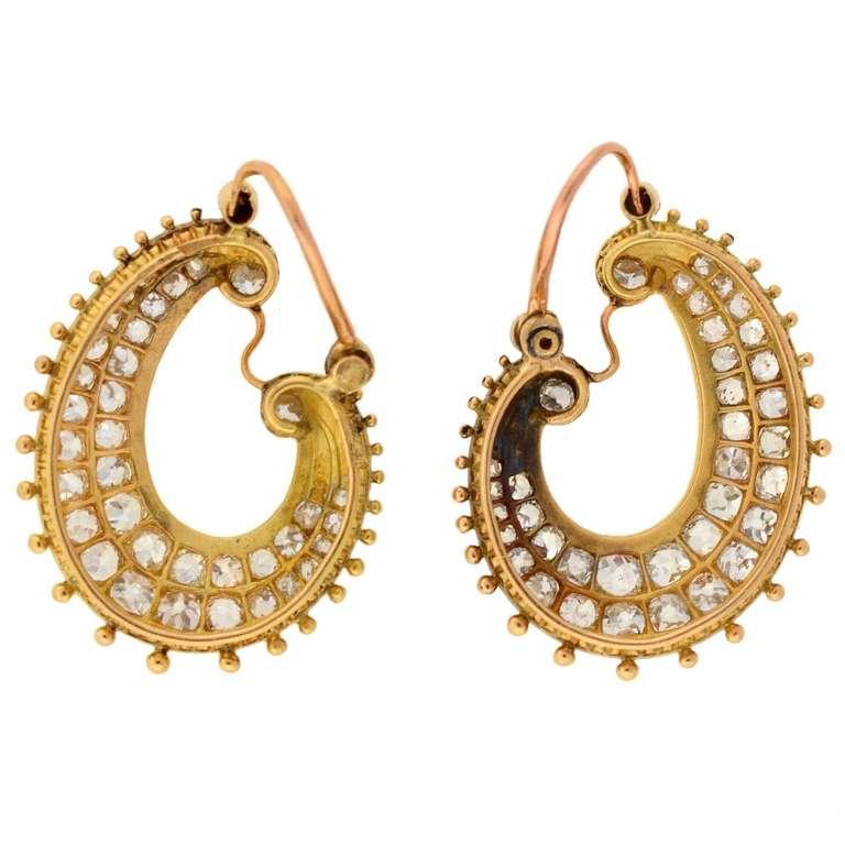 Victorian Diamond & Enamel Hoop Earrings For Sale 3