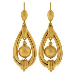 Victorian Twisted Gold Hoop and Ball Earrings