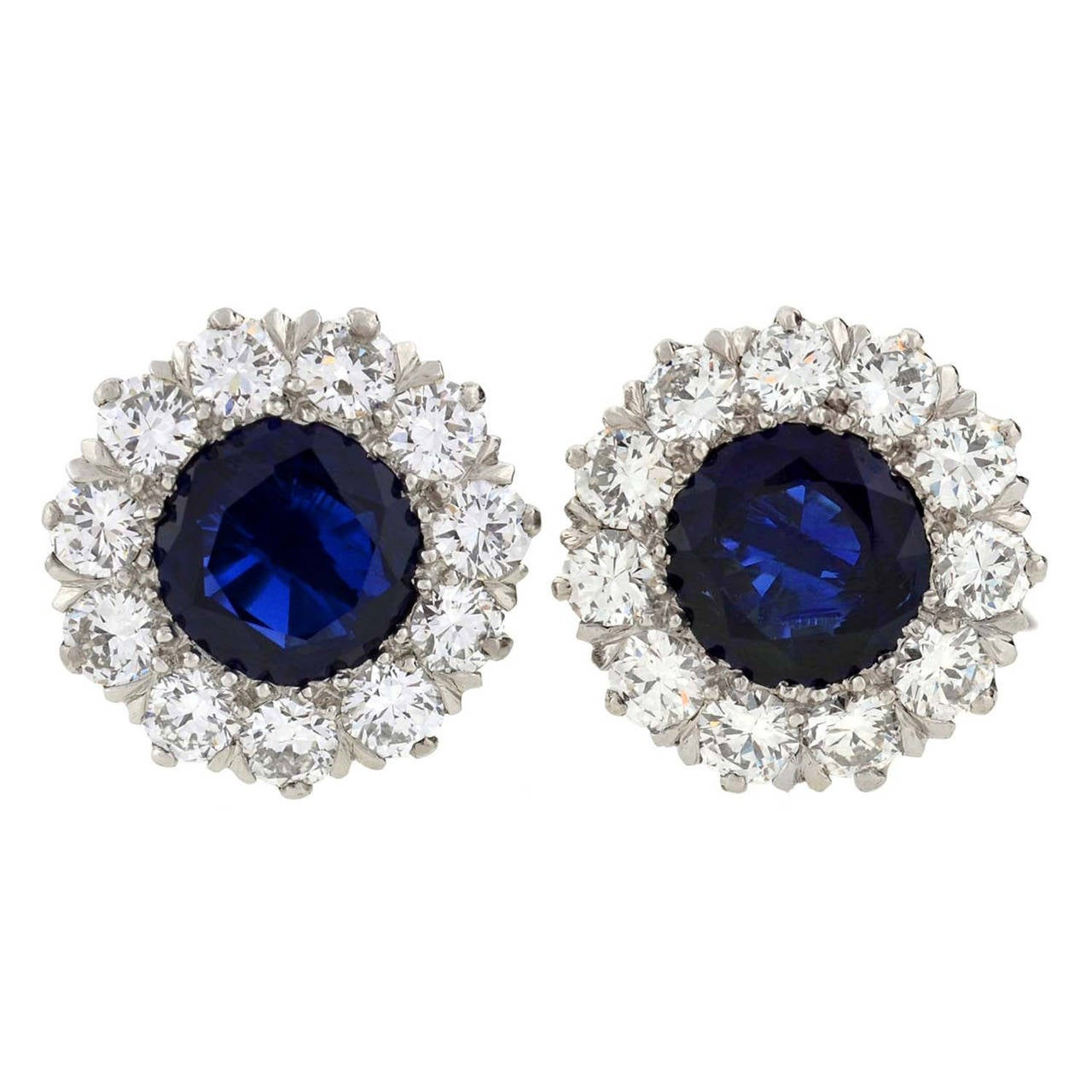 Tiffany & Co. Art Deco Burma Sapphire Diamond Platinum Earrings For Sale