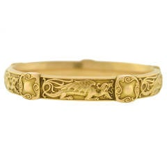 Riker Brothers Gold Repousse Dragon Bangle Bracelet
