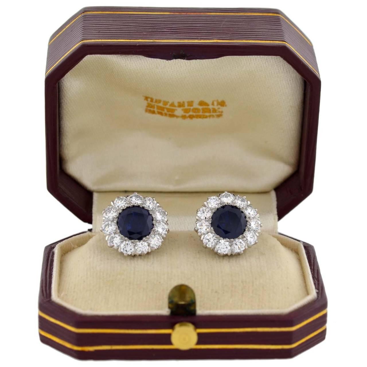 Tiffany & Co. Art Deco Burma Sapphire Diamond Platinum Earrings 8