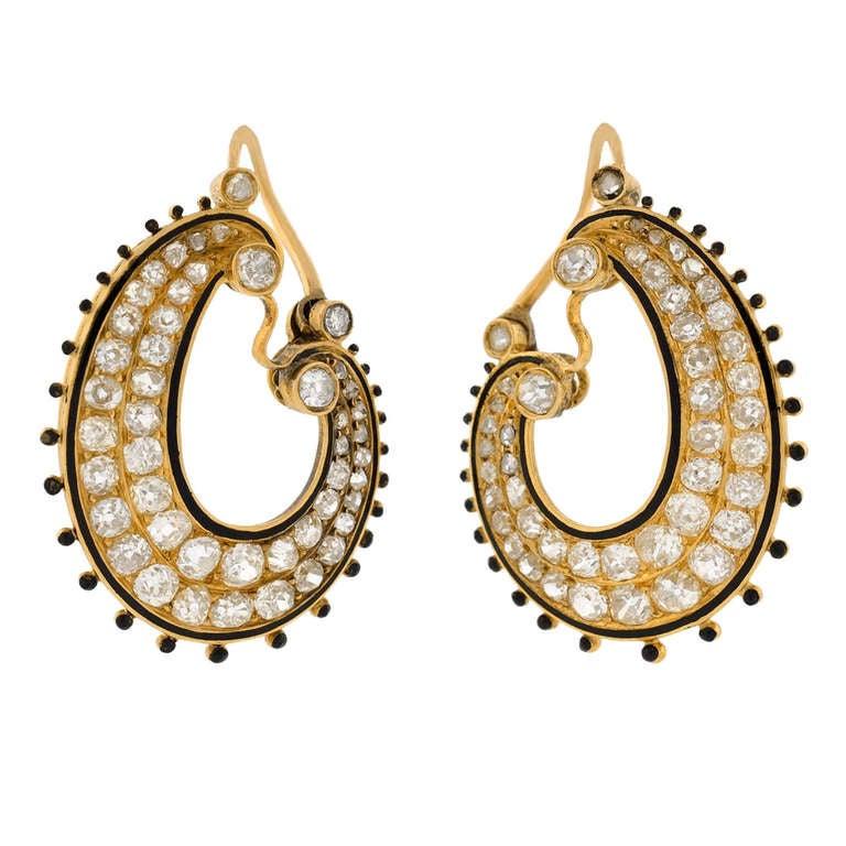 Victorian Diamond & Enamel Hoop Earrings For Sale