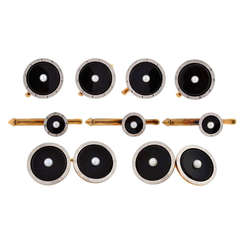 LARTER & SONS Edwardian Onyx & Pearl 9 Piece Cufflink Set