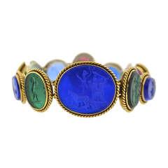 Early Victorian Roman Motif Glass Tassie Link Bracelet