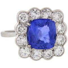 Art Deco 4.50 carat Sapphire Diamond Cluster Ring