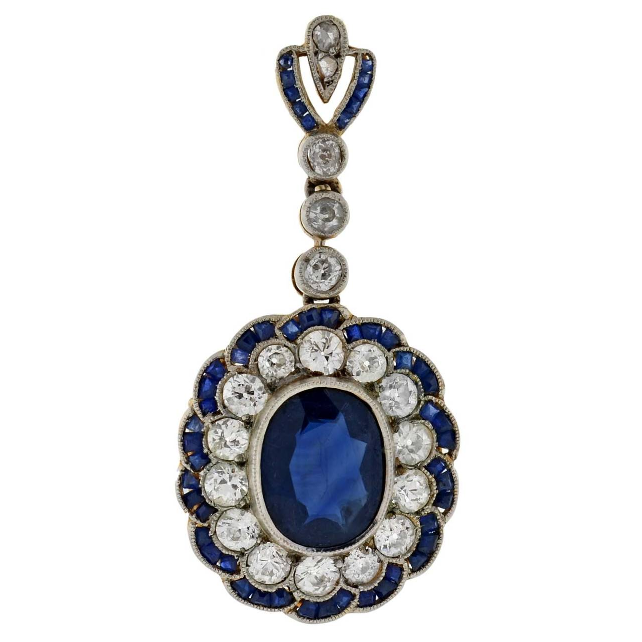 Edwardian Natural Sapphire Diamond Gold Dangle Earrings For