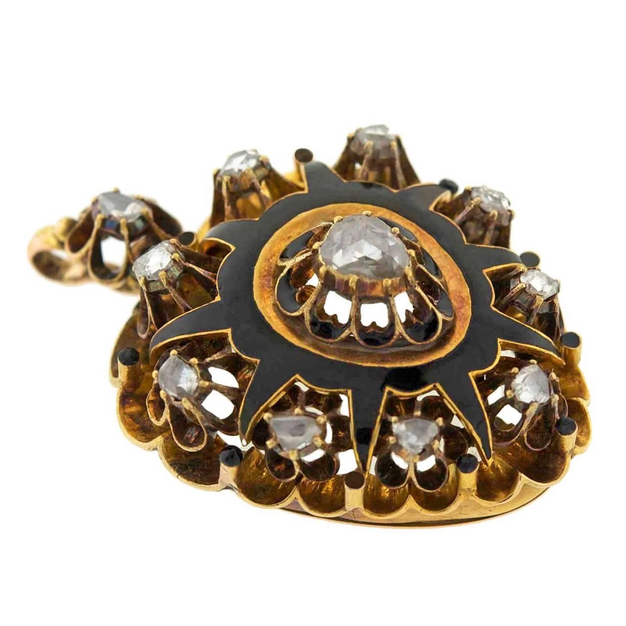 Victorian Rose Cut Diamond Gold Enameled Heart Pendant 2