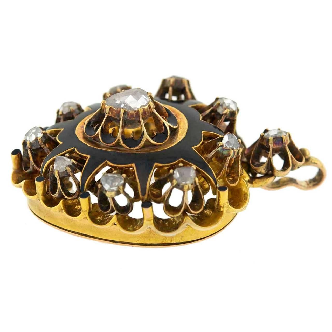 Victorian Rose Cut Diamond Gold Enameled Heart Pendant 3
