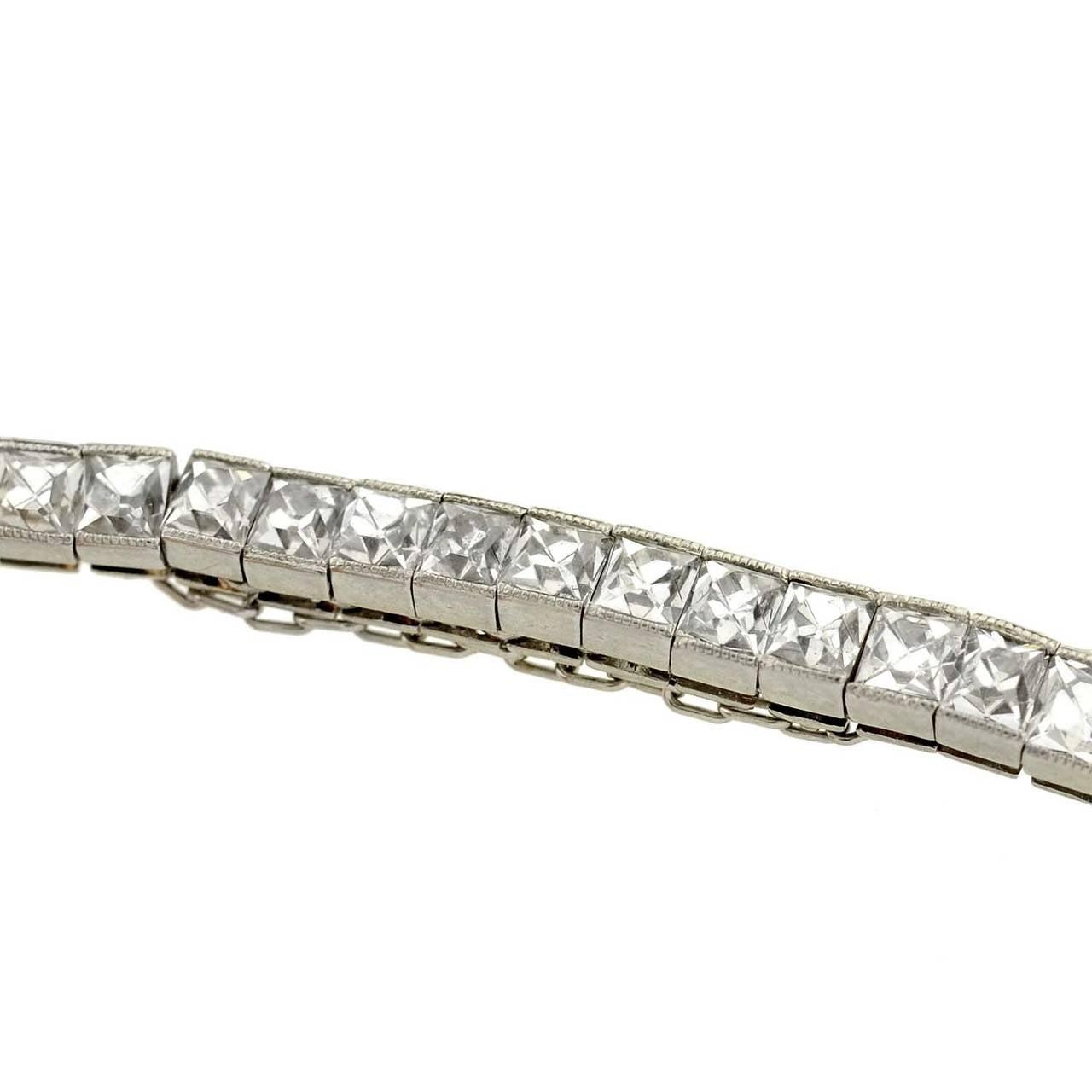 art deco french cut diamond platinum line bracelet 4 art deco furniture lines