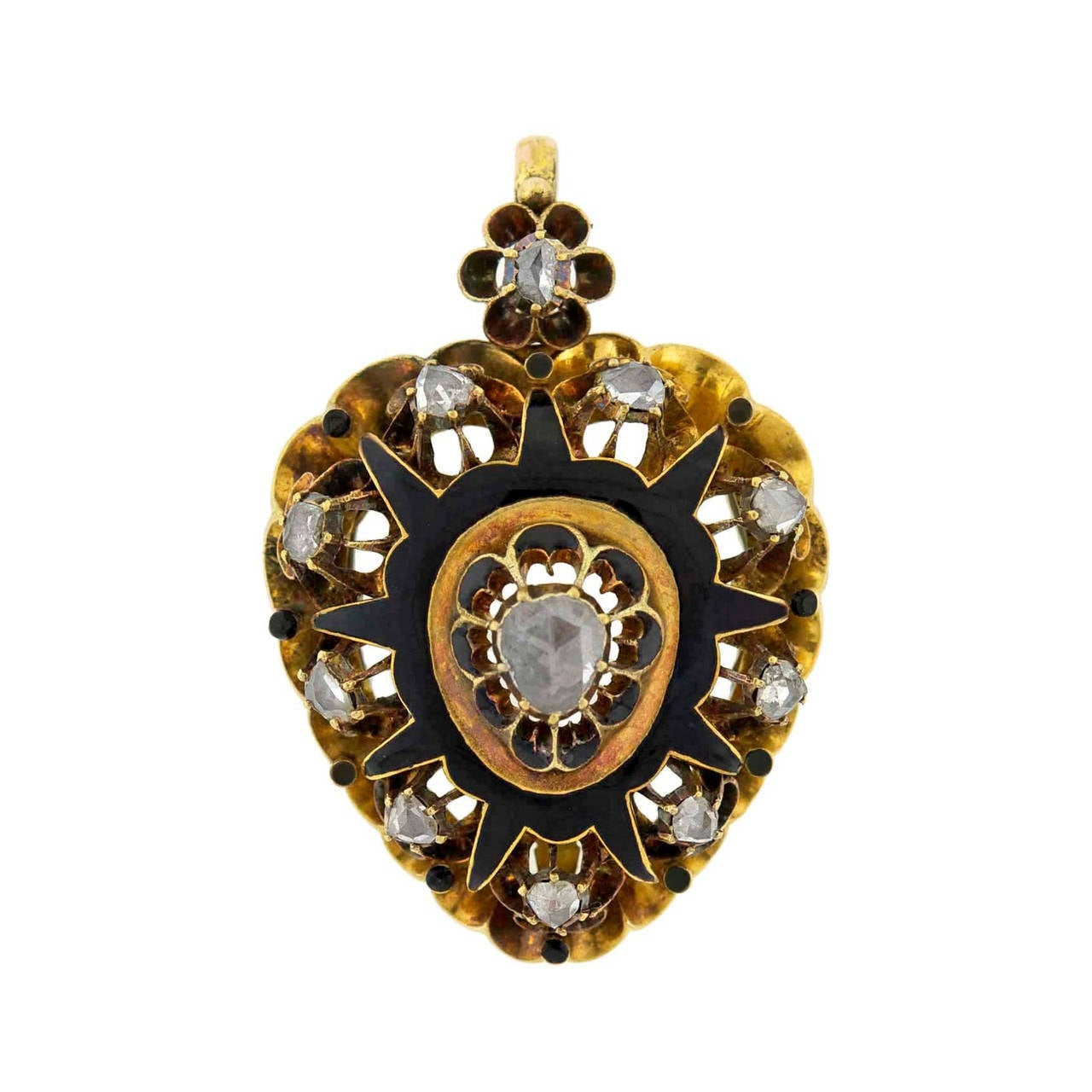 Victorian Rose Cut Diamond Gold Enameled Heart Pendant For Sale