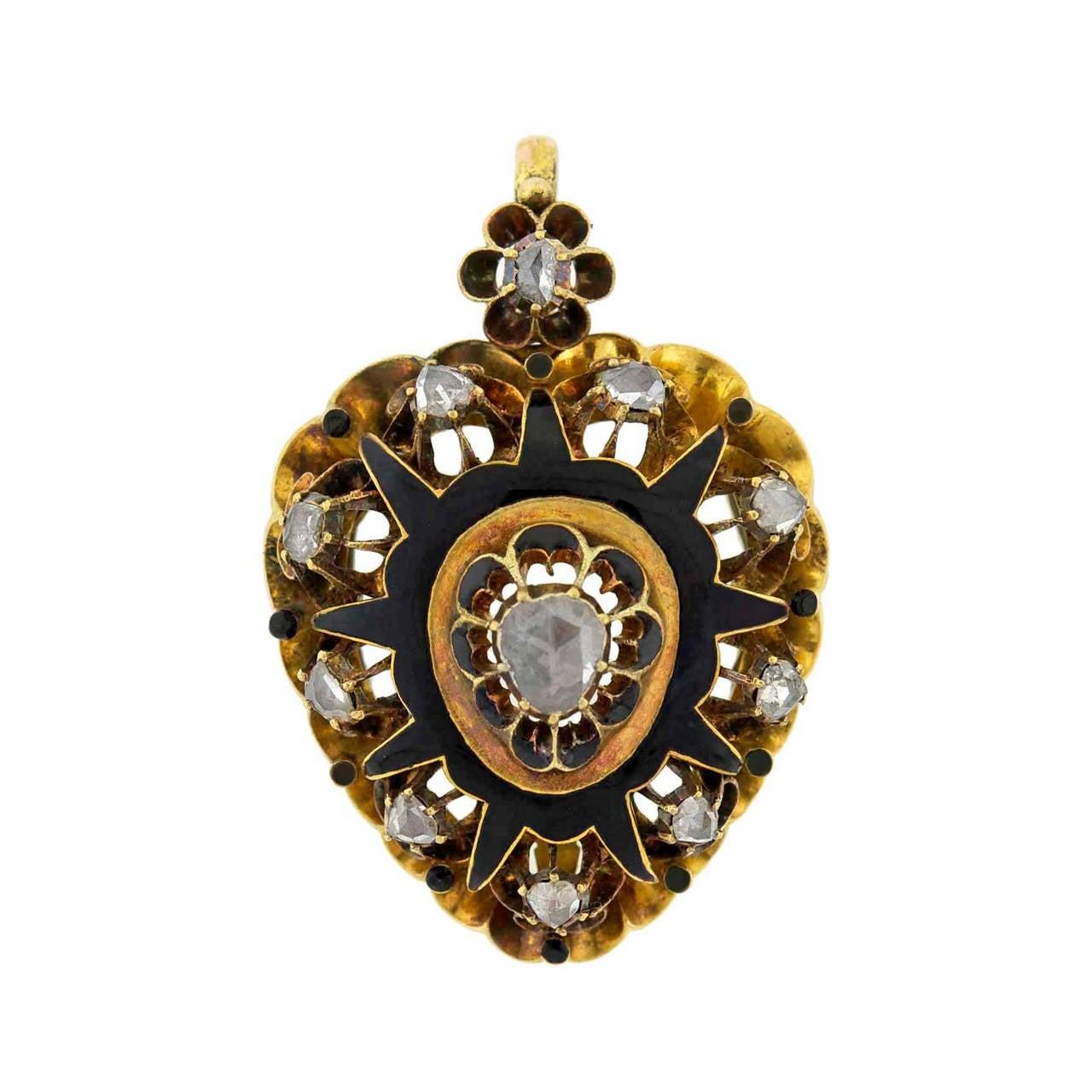 Victorian Rose Cut Diamond Gold Enameled Heart Pendant 1
