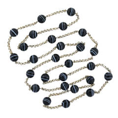 Contemporary 64 Inch Banded Agate Sterling Silver Link Necklace