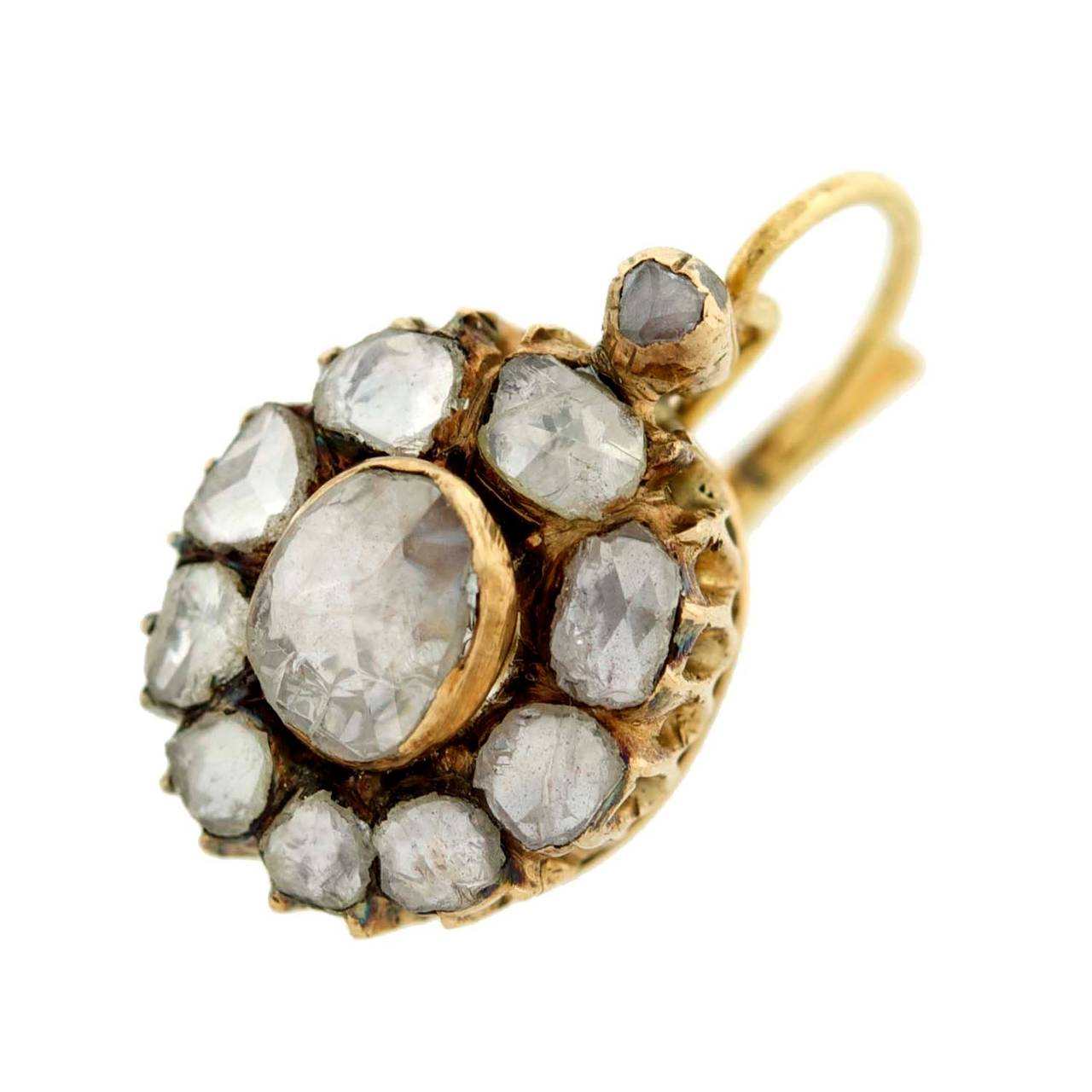 Victorian Rose Cut Diamond Gold Cluster Earrings 2