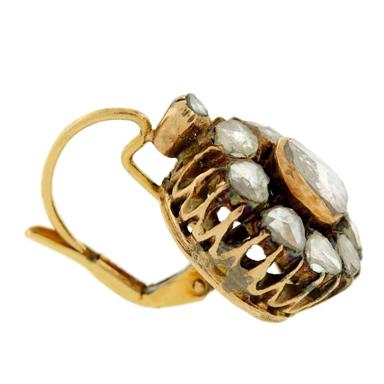 Victorian Rose Cut Diamond Gold Cluster Earrings 3