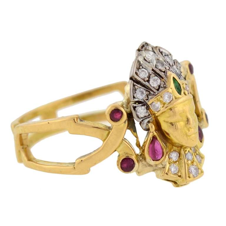 Art Deco Emerald Ruby Diamond Egyptian Revival Ring 2