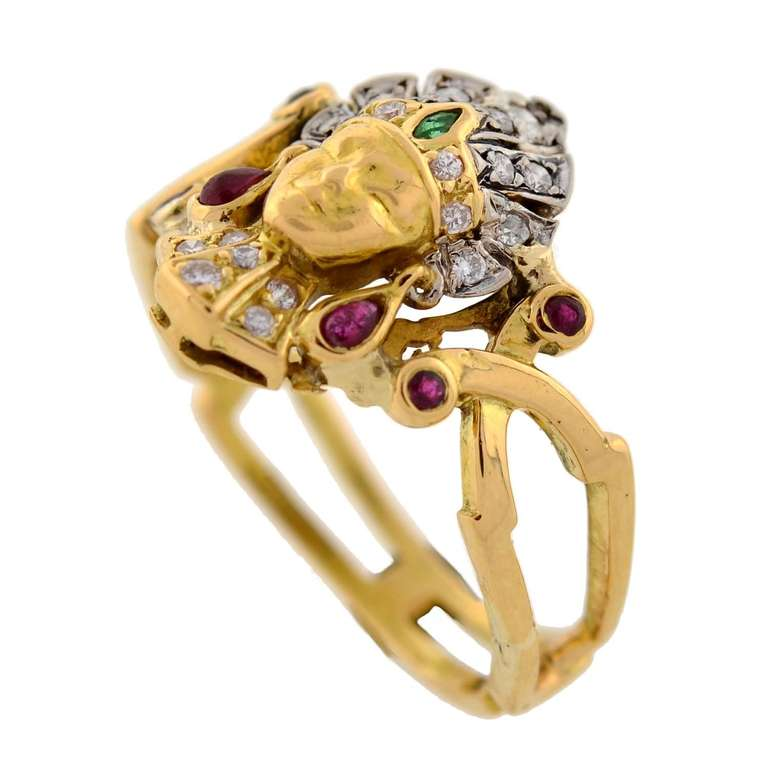 Art Deco Emerald Ruby Diamond Egyptian Revival Ring 4
