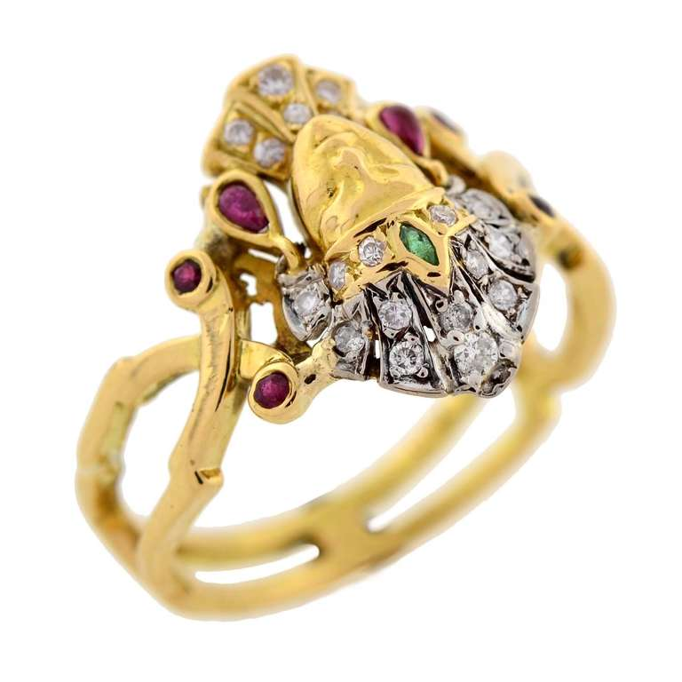 Art Deco Emerald Ruby Diamond Egyptian Revival Ring 5