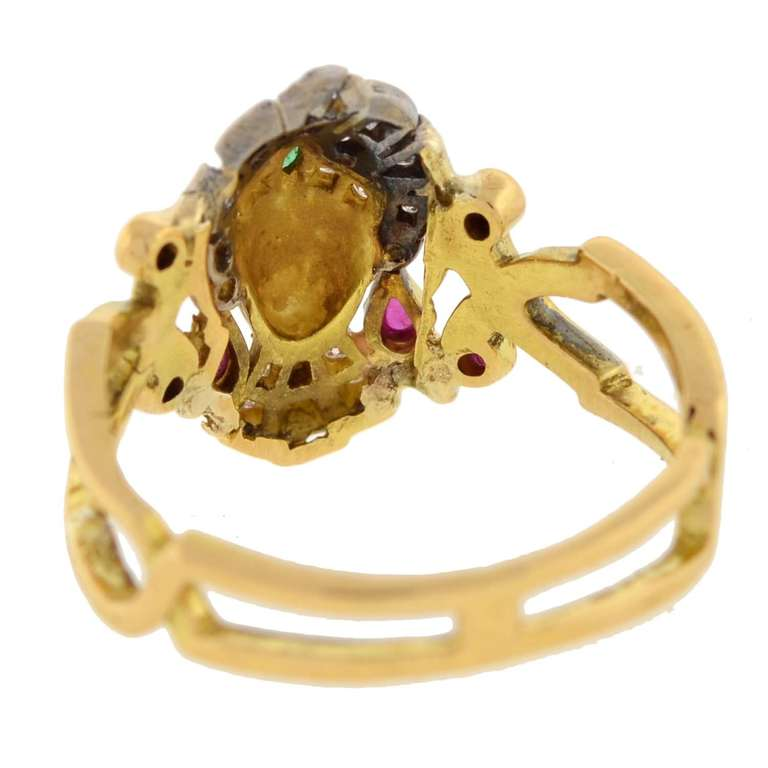 Art Deco Emerald Ruby Diamond Egyptian Revival Ring 6