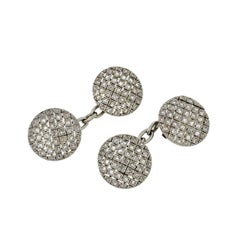 Edwardian Checkerboard Old Rose Cut Diamond Cufflinks