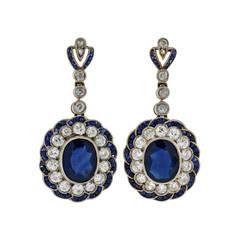 Edwardian Natural Sapphire Diamond Gold Dangle Earrings