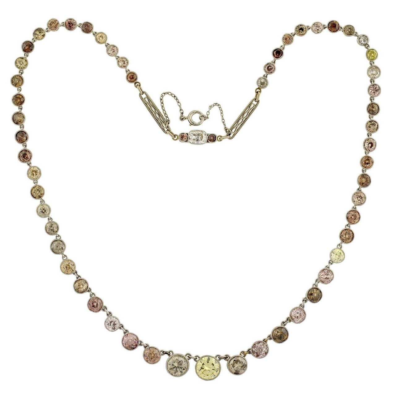 Edwardian Natural Multi-Color Diamond Platinum Riviere Necklace