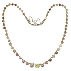 Edwardian Natural Multi-Color Diamond Platinum Riviere Necklace