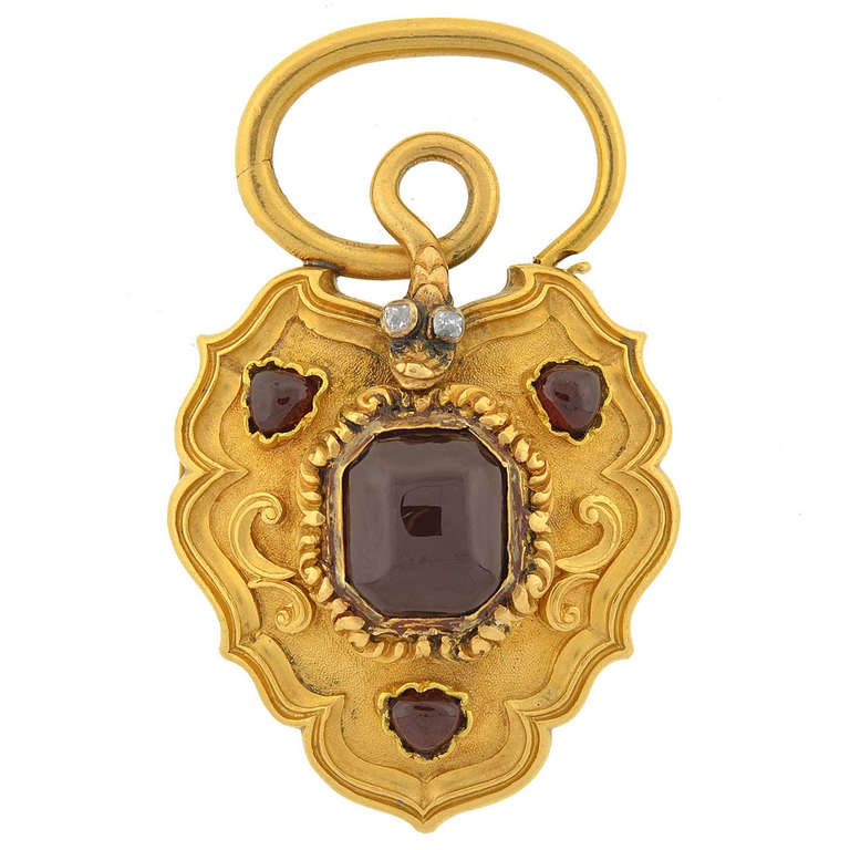 Large Victorian Garnet and Diamond Snake Padlock Locket