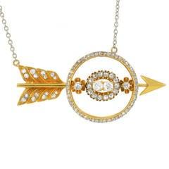 Victorian Diamond Open Arrow Pendant Necklace
