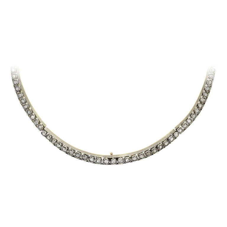 Early Victorian Sterling Rose Cut Diamond Collar Necklace